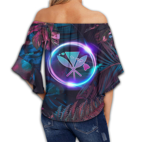 Hawaii Pineapple Kanaka Map Tropical Women's Off Shoulder Wrap Waist Top - Pub Style - AH - JA