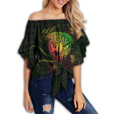 Hawaii Warrior Hibiscus Polynesian Off Shoulder Waist Wrap Top - Flo Style - AH - JA