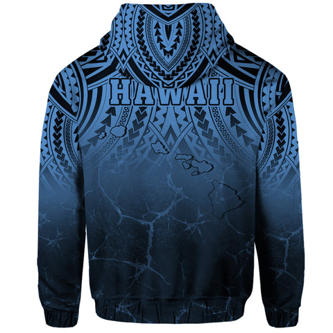 Hawaii Polynesian Kanaka Map Eruption Hoodie Zip - Roman Style - Pastel Blue - AH - J6 - Alohawaii