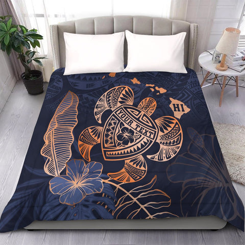 Image of Personalized - Hawaii Polynesian Aloha Po Turtle Hibiscus Tropical Comforter - Special Edition - AH - J6C