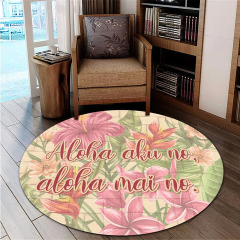 Hawaii Tropical Hibiscus Plumeria Round Carpet - AH - J4R | Alohawaii Store | Home Set Home Decor | Accessories for your home | Hawaiian Round Carpet | Polynesian design for you