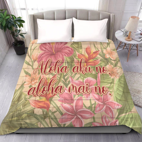 Image of Hawaii Tropical Hibiscus Plumeria Comforter - AH - J4C