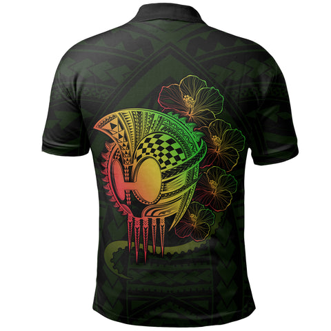 Hawaii Warrior Hibiscus Polynesian Polo Shirt - Flo Style - AH - JA