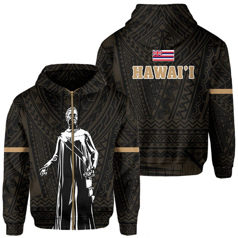 Polynesian Queen Lili'uokalani Flag Of Hawaii Zip Hoodie Gold - AH - J6 - Alohawaii