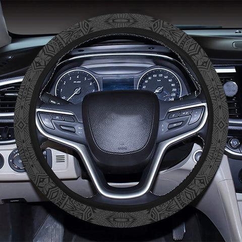 Polynesian Culture Gray Hawaii Steering Wheel Cover with Elastic Edge - AH - J6 - Alohawaii