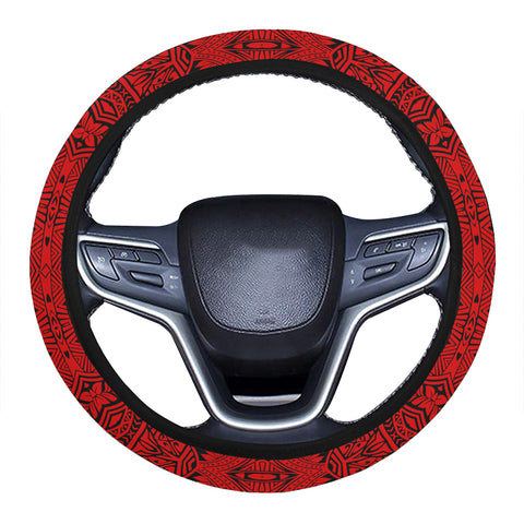 Polynesian Culture Red Hawaii Steering Wheel Cover with Elastic Edge - AH - J6 - Alohawaii