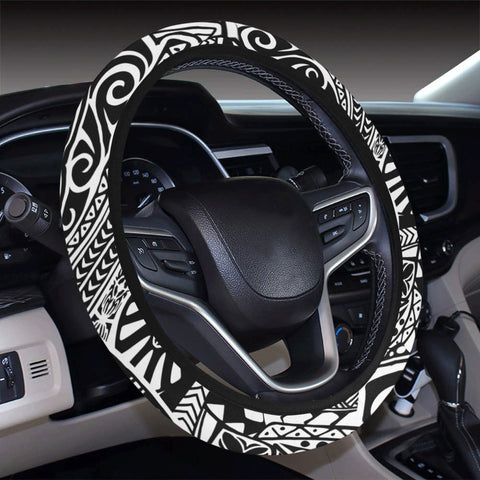 Polynesian Hawaiian Style Tribal Tattoo White Hawaii Steering Wheel Cover with Elastic Edge - AH - J6 - Alohawaii