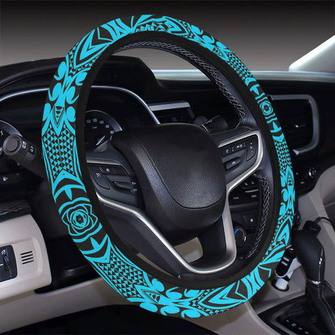 Polynesian Kakau Turtle Blue Hawaii Steering Wheel Cover with Elastic Edge - AH - J6 - Alohawaii