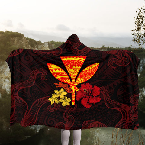 Polynesian Kanaka Maoli Flower Hooded Blanket AH - J0R | Hawaii Hooded Blanket - Hawaiian Hooded Blanket - Hooded Blanket For You