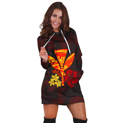 Polynesian Kanaka Maoli Flower Hoodie Dress AH - J0R | Hawaiian Women's Hoodie Dress - Hawaiian Hoodie Dress