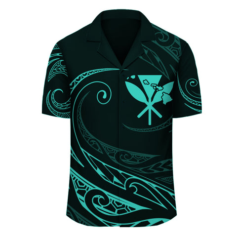 Image of Polynesian Kanaka Map Hawaiian Shirt - Turquoise - Frida Style - AH - J3 - Alohawaii