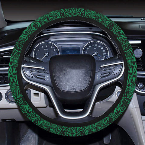 Polynesian Lauhala Mix Green Hawaii Steering Wheel Cover with Elastic Edge - AH - J6 - Alohawaii