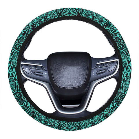 Polynesian Lauhala Mix Turquoise Hawaii Steering Wheel Cover with Elastic Edge - AH - J6 - Alohawaii