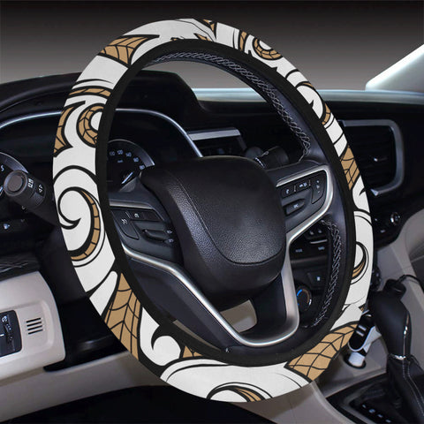 Polynesian Maori Ethnic Ornament Gold Hawaii Steering Wheel Cover with Elastic Edge - AH - J6 - Alohawaii