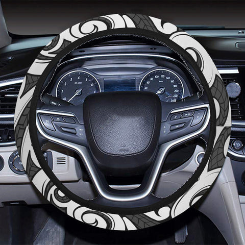 Polynesian Maori Ethnic Ornament Gray Hawaii Steering Wheel Cover with Elastic Edge - AH - J6 - Alohawaii
