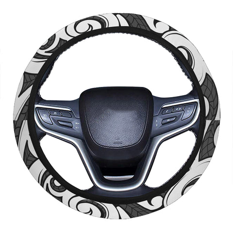 Image of Polynesian Maori Ethnic Ornament Gray Hawaii Steering Wheel Cover with Elastic Edge - AH - J6 - Alohawaii
