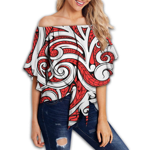 Polynesian Maori Ethnic Ornament Red Hawaii Women's Off Shoulder Wrap Waist Top - AH - J6 - Alohawaii