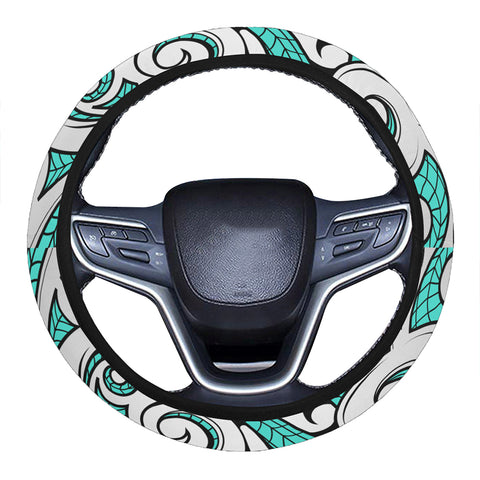 Polynesian Maori Ethnic Ornament Turquoise Hawaii Steering Wheel Cover with Elastic Edge - AH - J6 - Alohawaii