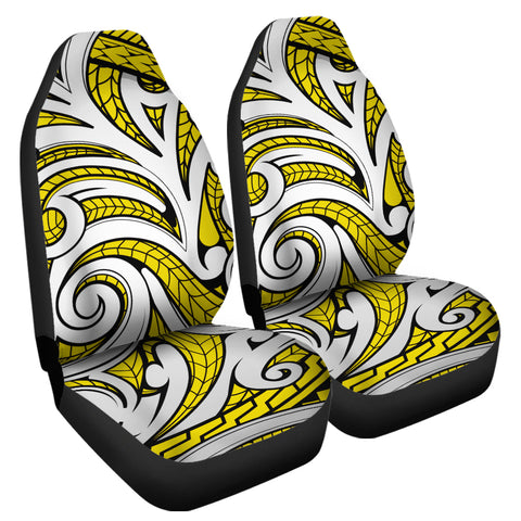 Polynesian Maori Ethnic Ornament Yellow Car Seat Cover | AH