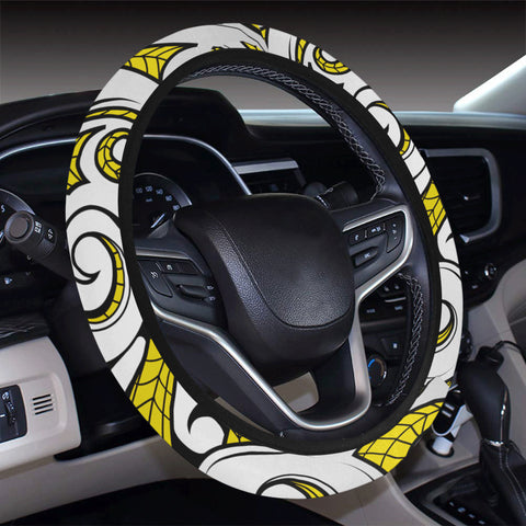 Polynesian Maori Ethnic Ornament Yellow Hawaii Steering Wheel Cover with Elastic Edge - AH - J6 - Alohawaii