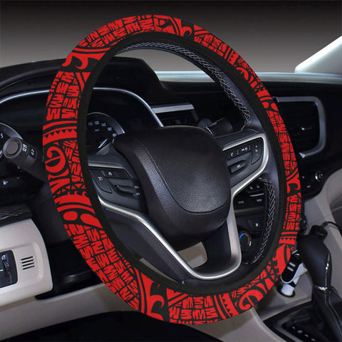 Polynesian Maori Lauhala Red Hawaii Steering Wheel Cover with Elastic Edge - AH - J6 - Alohawaii