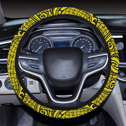 Polynesian Maori Lauhala Yellow Hawaii Steering Wheel Cover with Elastic Edge - AH - J6 - Alohawaii