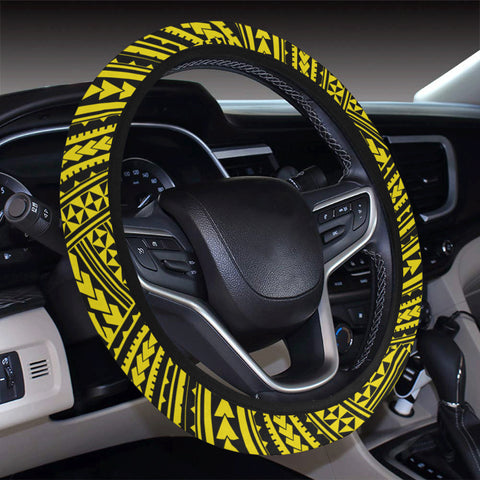 Polynesian Nation Yellow Hawaii Steering Wheel Cover with Elastic Edge - AH - J6 - Alohawaii