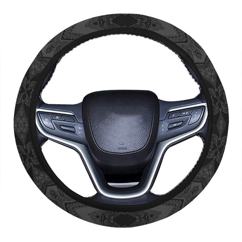 Polynesian Plumeria Mix Gray Black Hawaii Steering Wheel Cover with Elastic Edge - AH - J6 - Alohawaii