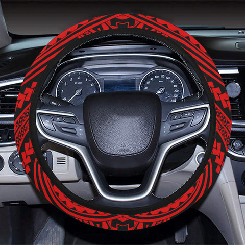 Polynesian Seamless Red Hawaii Steering Wheel Cover with Elastic Edge - AH - J6 - Alohawaii
