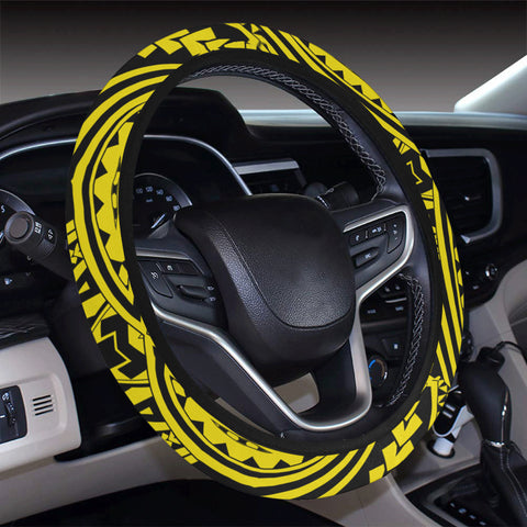Polynesian Seamless yellow Hawaii Steering Wheel Cover with Elastic Edge - AH - J6 - Alohawaii