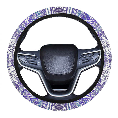 Polynesian Symmetry Gardient Violet Hawaii Steering Wheel Cover with Elastic Edge - AH - J6 1 - Alohawaii