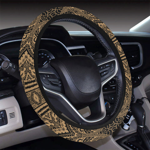 Polynesian Symmetry Gold Hawaii Steering Wheel Cover with Elastic Edge - AH - J6 - Alohawaii