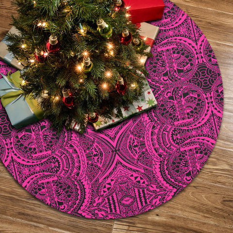Polynesian Symmetry Pink Tree Skirt