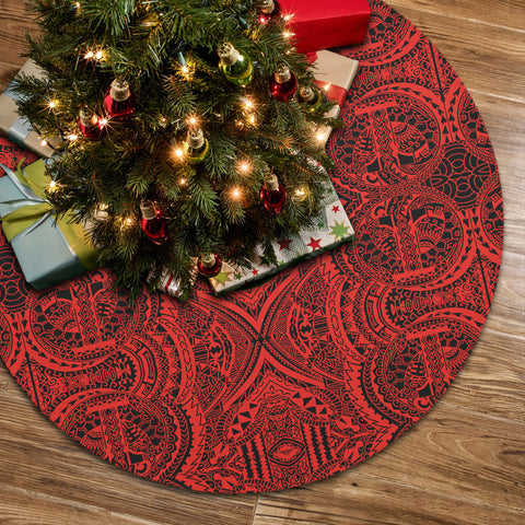 Polynesian Symmetry Red Tree Skirt