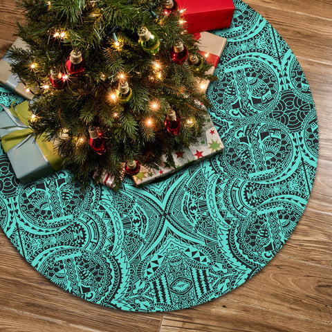 Polynesian Symmetry Turquoise Tree Skirt