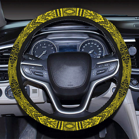 Polynesian Symmetry Yellow Hawaii Steering Wheel Cover with Elastic Edge - AH - J6 - Alohawaii