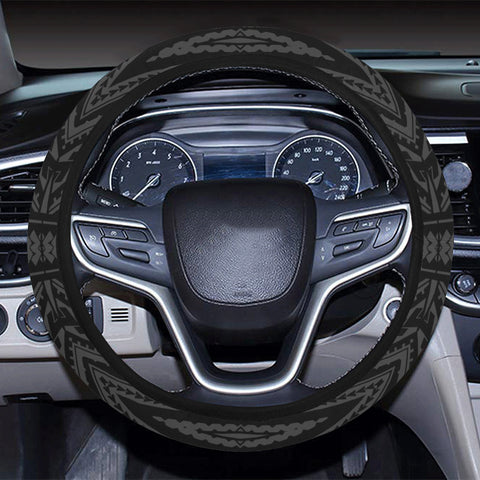 Polynesian Tatau Gray Hawaii Steering Wheel Cover with Elastic Edge - AH - J6 - Alohawaii