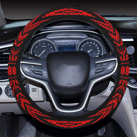 Polynesian Tatau Red Hawaii Steering Wheel Cover with Elastic Edge - AH - J6 - Alohawaii