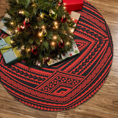 Image of Polynesian Tatau Red Tree Skirt