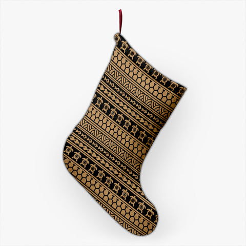 Polynesian Tattoo Tribal Gold Christmas Stocking - AH - J4