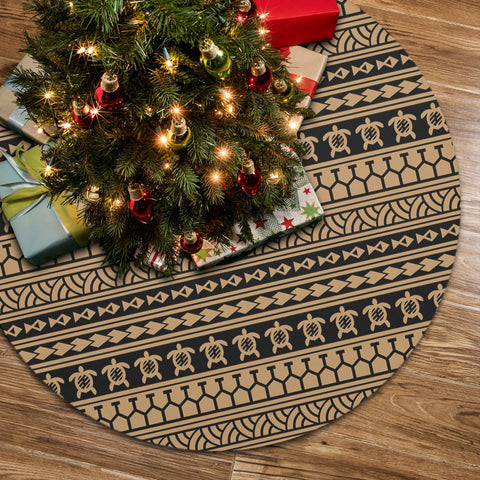 Polynesian Tattoo Tribal Gold Tree Skirt