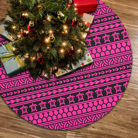 Polynesian Tattoo Tribal Pink Tree Skirt