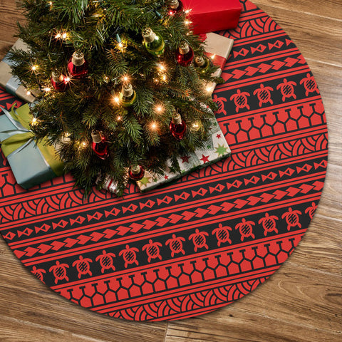 Polynesian Tattoo Tribal Red Tree Skirt