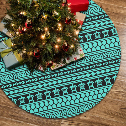 Polynesian Tattoo Tribal Turquoise Tree Skirt