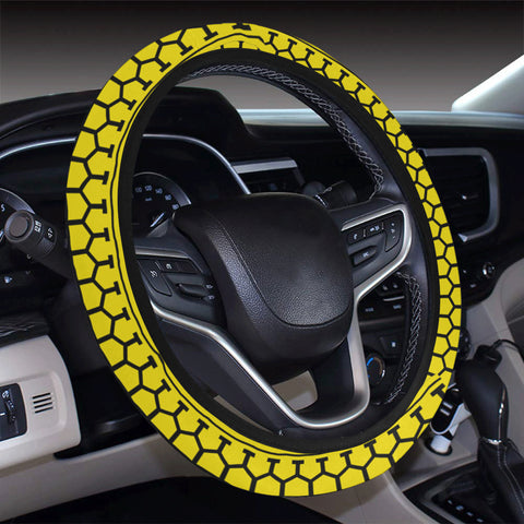 Polynesian Tattoo Tribal Yellow Hawaii Steering Wheel Cover with Elastic Edge - AH - J6 - Alohawaii