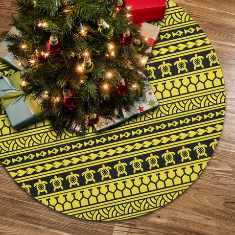 Polynesian Tattoo Tribal Yellow Tree Skirt