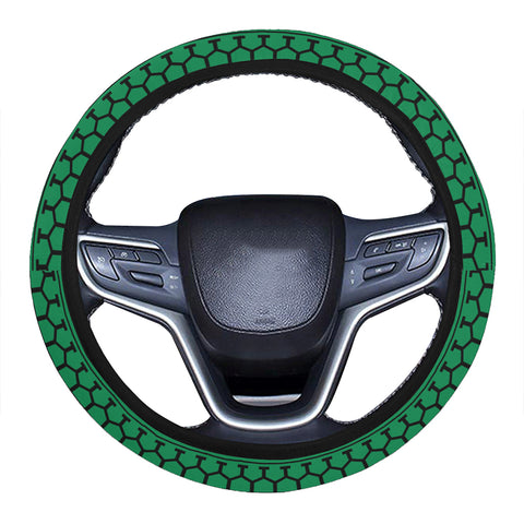 Polynesian Tattoo tribal Green Hawaii Steering Wheel Cover with Elastic Edge - AH - J6 - Alohawaii
