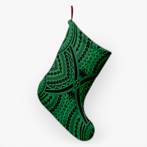 Polynesian Tradition Green Christmas Stocking - AH - J4