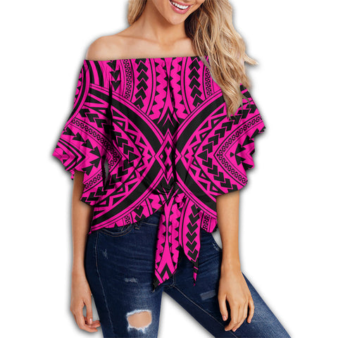 Polynesian Tradition Pink Hawaii Women's Off Shoulder Wrap Waist Top - AH - J6 - Alohawaii