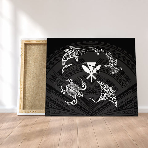 Polynesian Turtle Hammerhead Shark Ray Kanaka Hawaii Canvas Circle - AH - J5C